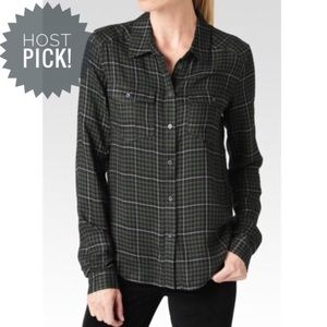 Paige Army Green Classic Plaid Button Up Top, M